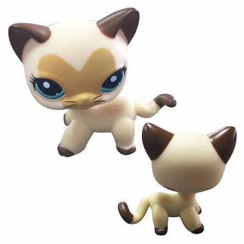 hotsale Rare Black yellow Cat Blue Eyes Cute Kitten Littlest Pet Shop Toys Animals Kids Gift