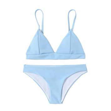 Pretty Bikini Set Romwe Sport Seam Triangle  Blue Plain Swimwear With Chest pad 2018 Summer New Women Beach Sexy  KO_24_2