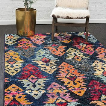 5156 Navy Blue Damask Distressed Area Rugs