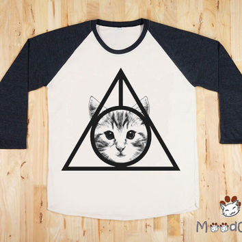 Deathly Hallows Cat Shirt I Like Cats T-Shirt Face Cat Women T-Shirt Unisex T-Shirt Long Sleeve Shirt Baseball Shirt Cat Raglan Shirt Size L