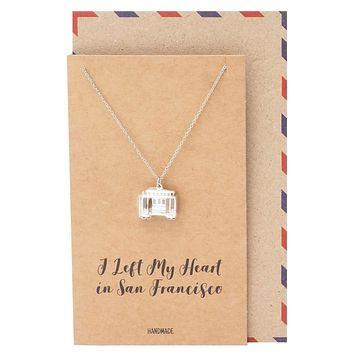 Parker Cable Car Pendant Necklace Inspirational Gifts with Greeting Card