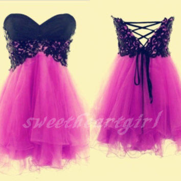 Cute Lace Ball Gown Sweetheart Mini Prom Dress/Homecoming Dress