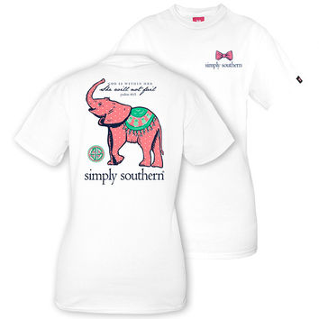 Simply Southern Preppy Baby Elephant White T-Shirt