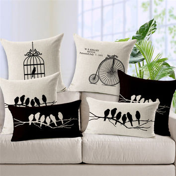 Bird Cage Cushion Black & White Classic Print Linen  For Sofa  Home Textile