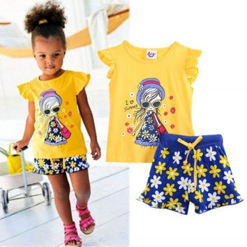 Toddler Kids Baby Girls Beach Short sleeve T-shirt Shorts Summer Outfits Clothes