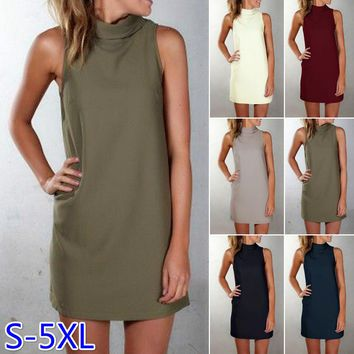 2017 Summer Europe and America Style Women's Casual Slim Turtleneck Sleeveless Solid Color Long Style Tank Plus Size S-5XL BX417