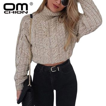 OMCHION Pull Femme Winter Turtleneck Crop Sweater Women Casual Solid Twist Short Pullover Sexy Thick Jumper LMM112