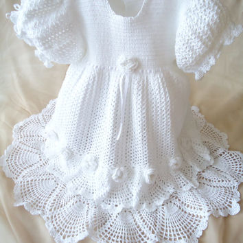 Crochet girl's dress,Crocheted white dress,Christening dress, christening gown Baptism dresses,Christening outfits,Girl dress