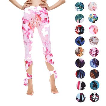 Witkey Printed Yoga Leggings High Waist Yoga Pants Leggings Women Running Pants Women 3/4 Anti-sweat Gym Fitness Sport Tights