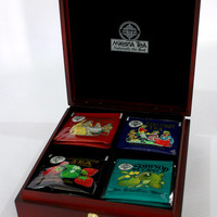 Organic traditional premium Ceylon black tea 'Mlesna Tea collection, 4 types in bag' сompiled by hand in nice wooden box.