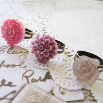 Antique Bronze Pink Flower Cabochon Cameo Ring by evelynadams