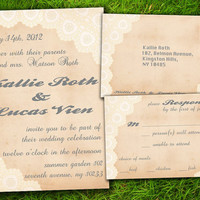 Vintage Rustic Formal Lace  Customizable Wedding Invitation and RSVP Card Suite - DIY Printable