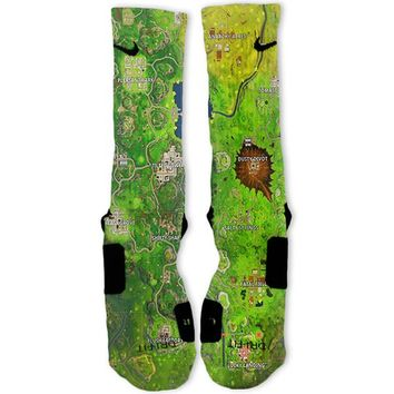 Fortnite Map Custom Nike Elite Socks