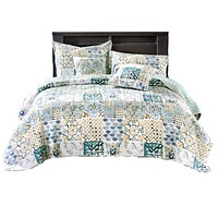 Tache Watercolor Spring Time Patchwork Quilted Coverlet Bedspread Set (SD-56)