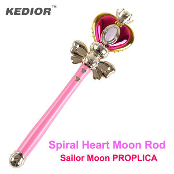 Anime Cosplay Tool Sailor Moon Wand Henshin Rod Glow Stick Spiral Heart Moon Rod Musical Magic Light-Up Toy For Girls Gift
