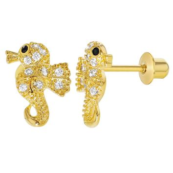 18k Gold Plated Clear Crystal Little Seahorse Screw Back Earrings for Girls