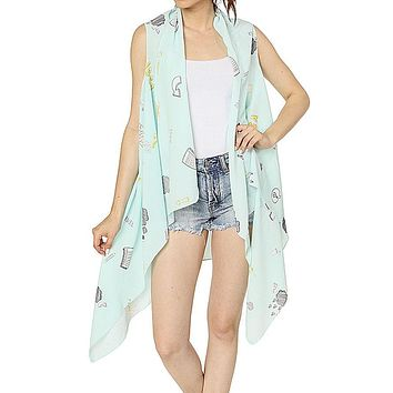 Graphic print cover up vest
