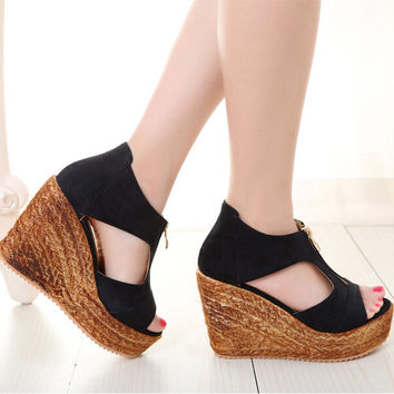 Summer Straw Wedge Sandals up to Size 9.5 (26.5cm - EU 43)
