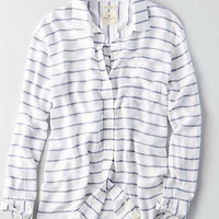 AEO Tie Front Button Down Shirt , White