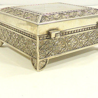 Vintage Rectangular Silverplate Footed Jewelry Box Engraved for Brianna Vintage Hinged Top Jewelry Box Stamped Silverplate Jewelry Box