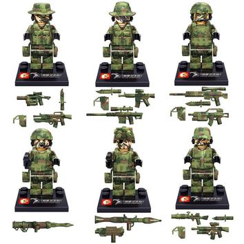 6Pcs Star Wars Military Falcon Commandos WWII Army Soldiers Marine Corps Kids Bricks Building Blocks Compatible Legoing Toys