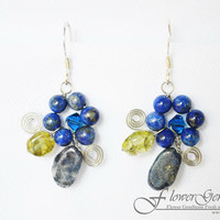 Lapis Lazuli Earrings Flower Shape Silver Earring Gem Stone Silver Chandelier Earrings Handmade by Flower GemStone
