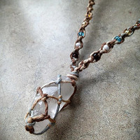 Beachy Raw Quartz Natural Hemp Necklace