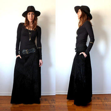 Black Suede Maxi Skirt Vintage Leather Floor Length