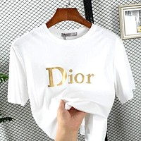 Dior Tide brand men and women models hot stamping 3D letters LOGO round neck half sleeve T-shirt white