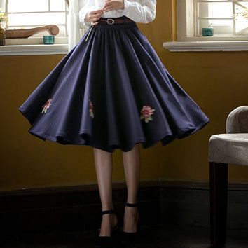 Vintage High Waist Floral Designed Pleated Skirt