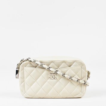 """Chanel Cream Quilted Leather """"Camera"""" Chain Strap Shoulder Bag"""