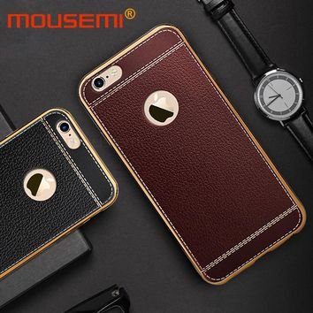 Litchi Grain Luxury Plating Phone Case For iPhone 6 Case 5 5s se TPU Leather Covers For iPhone 7 Case 6 6s Plus Cases Coque Capa