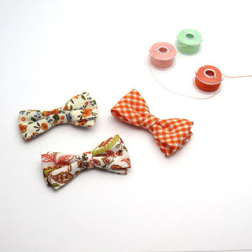 Set 3 Baby Girl Cotton Small Hair Bow Orange Coral Crocodile Clip Baby No Slip Grip Clasp Alligator Clip Pony Tail Elastic Bobble Band
