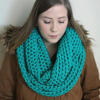 Teal infinity scarf, vegan, blue green cowl, cruelty free, circle scarf, tube scarf, knitted, crocheted, ready to ship, hypo allergenic
