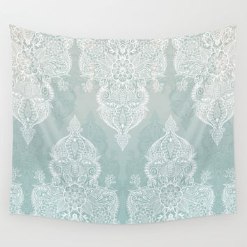 Lace & Shadows - soft sage grey & white Moroccan doodle Wall Tapestry by Micklyn