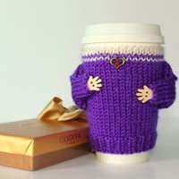 Valentine's coffee cozy. Travel mug warmer. Purple ivory. Knit cup sleeve. Mug sweater. Reusable Starbucks cup holder. Gift for her.