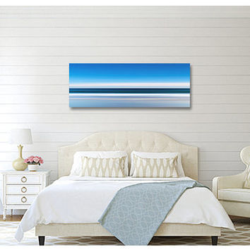 Beach Decor Canvas Gallery Wrap Ocean Waves Panorama Large Wall Art Oversize Print Abstract Nautical Coastal Art Navy Blue White Living Room