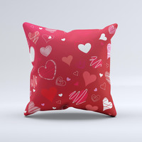 Red Sketched Love Hearts Illustrastion Ink-Fuzed Decorative Throw Pillow