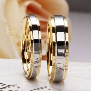 Fashion 925 Sterling Silver Rings for Lovers 18K Gold Plated Classic Couple Wedding Rings Women Jewelry