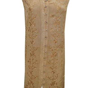 Bohemian Tunic Dress Button Front Brown Embroidered Sleeveless Shift Dresses Xl