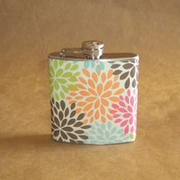 Multicolor Modern Floral Mum Print 6 ounce Stainless Steel Girl Gift Flask