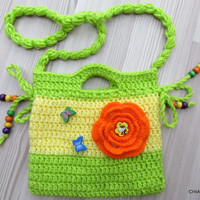 Purse small  Crochet. Small Crochet Purse. Crochet Clutch. Children's Crochet Purse.Crochet bag for girls.