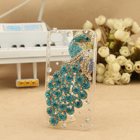 Bling rhinestone peacock iphone 4 case iphone 4s case iphone 5 case iphone 5 cases iphone 5 cover