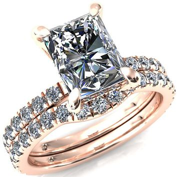 Daneli Radiant Moissanite 4 Claw Prong Micro Pave Diamond Sides Engagement Ring