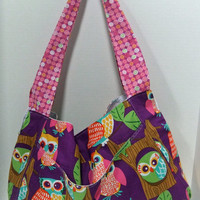 Tote made by me with bright owl fabric - sweet harmony tote