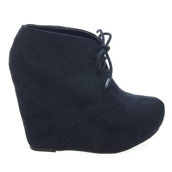 Pager By Soda, F-Suede Laced Up Close Toe Hidden Platform Wedge Bootie Soda Shoes