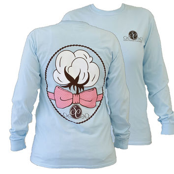 Southern Couture Preppy Cotton Bow Comfort Colors Chambray Girlie Long Sleeve Bright T Shirt