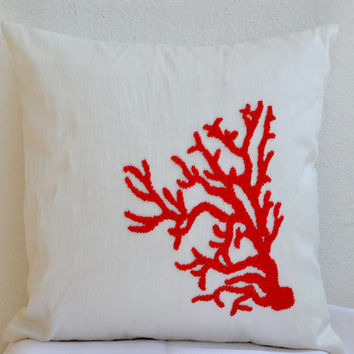 Coral Pillow Red White Pillow Decorative Throw Pillow Cover Ivory Beaded Coral Pillowcase All sizes Nautical Oceanic Coral Reef Cushion Gift