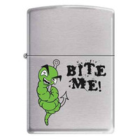 Zippo AD320 Classic Bite Me Brushed Chrome Windproof Pocket Lighter