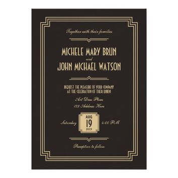 Retro Art Deco Dark Wedding Invitation